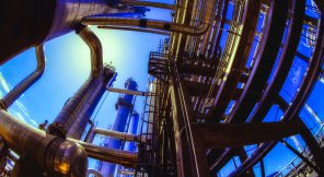 Oil and gas industry low angle with fish eye lens