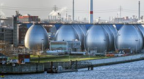 Desalination plant in hamburg harbor metallic eggs