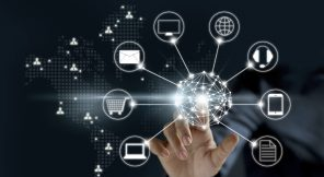 Hands touching circle global network connection, Omni Channel or Multi channel