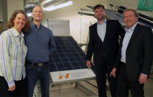 The team behind NOMADD, including founder and current Chief Technology Office Georg Eitelhuber (second from right), developed a smart and ecological desert solar panel cleaning system at KAUST.