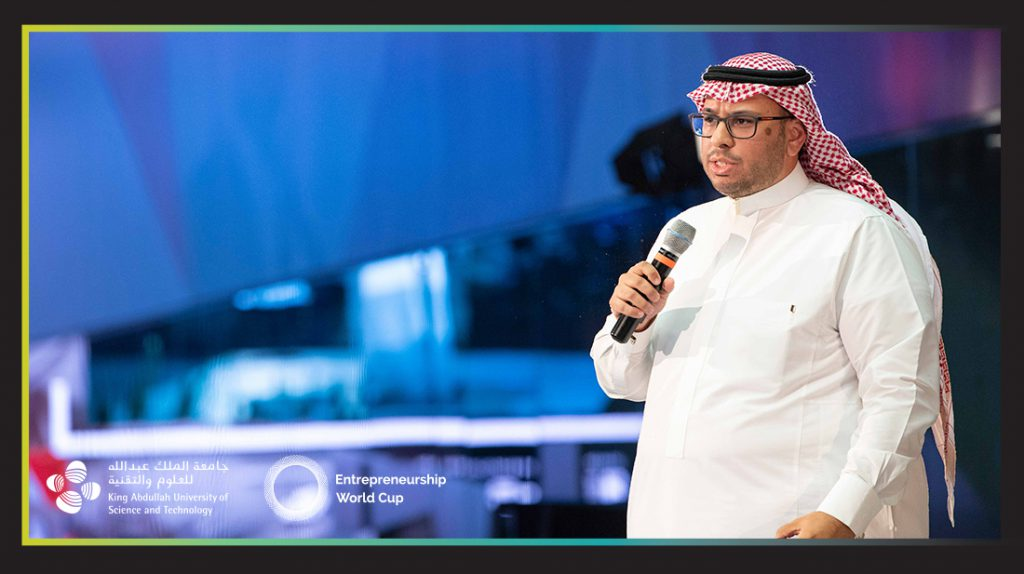 Wael Kabli, co-founder Cura pitching at Entrepreneurship World Cup Saudi finals in June 2019